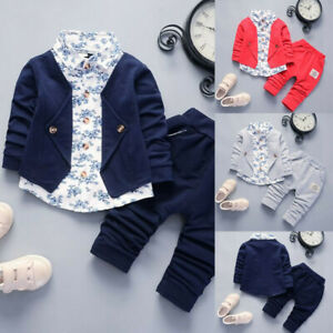 a40fd2aa42062 Details about Kid Baby Boy Gentry Formal Party Christening Wedding Tuxedo  Bow Suit Set Outfit