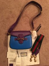Gucci 2016 Med Lady Web Leather Crossbody Changeable Strap Blue Purple Bag Auth
