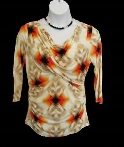 Geometric Knit Top Sz L 10 12 Shirt Draped Neckline VINCE CAMUTO Ruched Trendy