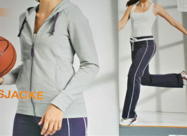Damen Fitnessanzug Jogginganzug Gr.XS 32/34 Sportjacke+Hose grau/lila NEU