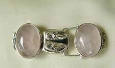 "Magnetic Clasp Sterling Silver  Rose Quartz Gemstone Three Strand 1 7/8"" long"