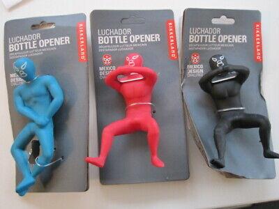 Kikkerland Luchador Bottle Opener Blue or Red Black