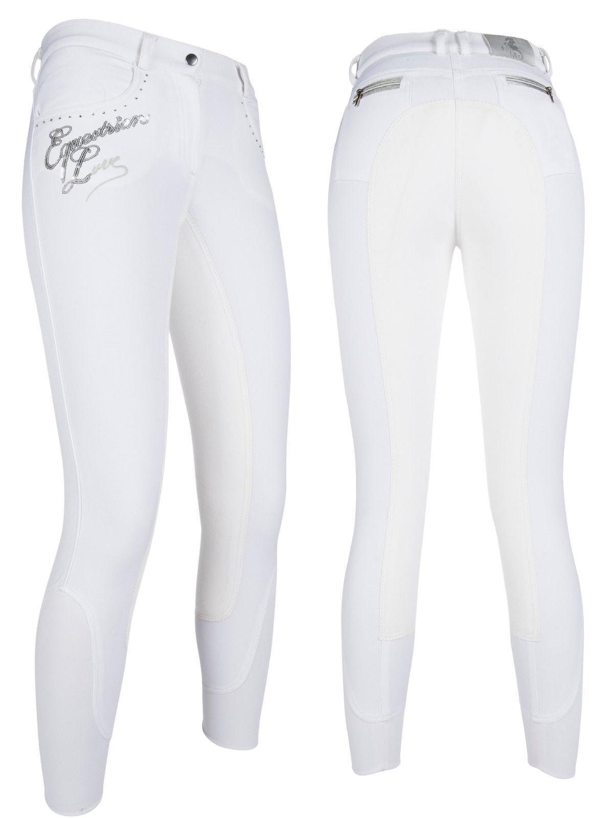 HKM TournaHommest Riding Pants RIMINI Crystal Cavallino Marino Full Trim blanc