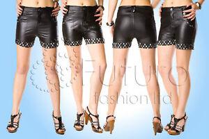 HonnêTe Femme Sexy Shorts Avec Poches Courtes Ajustée En Simili Cuir Noir Pantalon Ls9054-afficher Le Titre D'origine