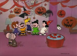 Peanuts-Violet-039-s-Halloween-Party-Limited-Edition-Cel-Signed-by-Bill-Melendez