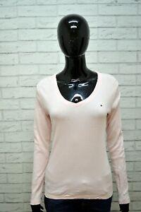 Maglia-Donna-TOMMY-HILFIGER-Taglia-M-Blusa-Shirt-Woman-Polo-Manica-Lunga-Rosa