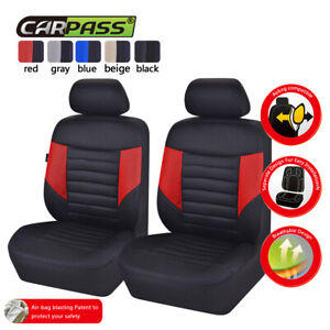 Universal-2-Front-Car-Seat-Covers-Black-Red-Mesh-Breathable-Fit-For-Honda-Toyota