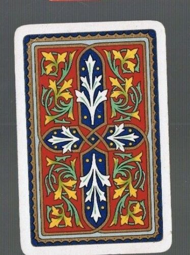 Swap Playing Cards 1 VINT MULTI  COLORED SCROLLS /&  FOLIAGE  GOLD TRIM  419