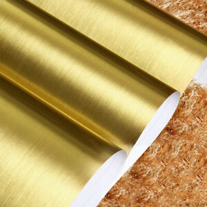 Gold Self Adhesive Stainless Steel Brushed Contact Paper Film Wallpaper Decor 3D