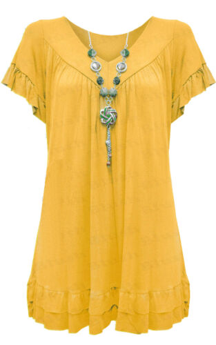 New Ladies Plus Size Gypsy V Neck Frill Necklace Tunic Sleeves T Shirt TOP 12-30