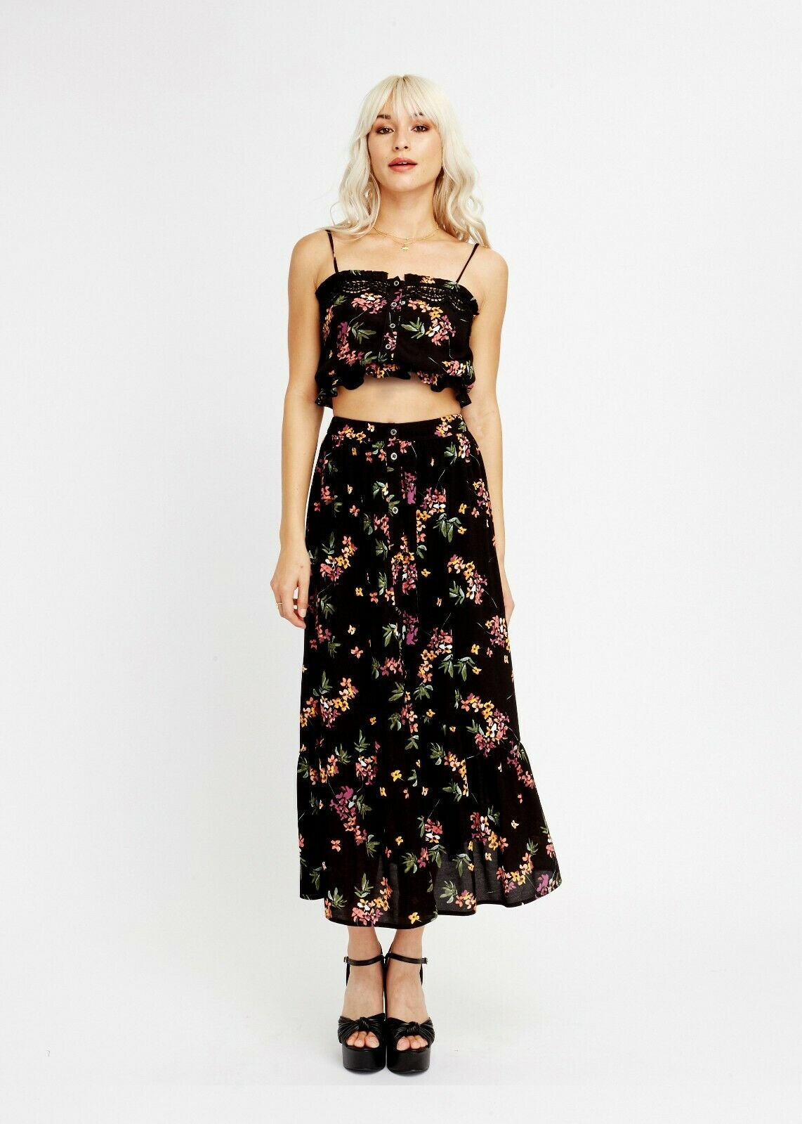 LOST + WANDER MAMBO NO 5 PRINTED TOP & SKIRT SET M