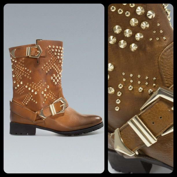 ZARA LEATHER STUDDED ANKLE Stiefel CAMEL 8 6 UK/ 39 EU/ 8 CAMEL USA BLOGGERS FAVORITE 03b2b9