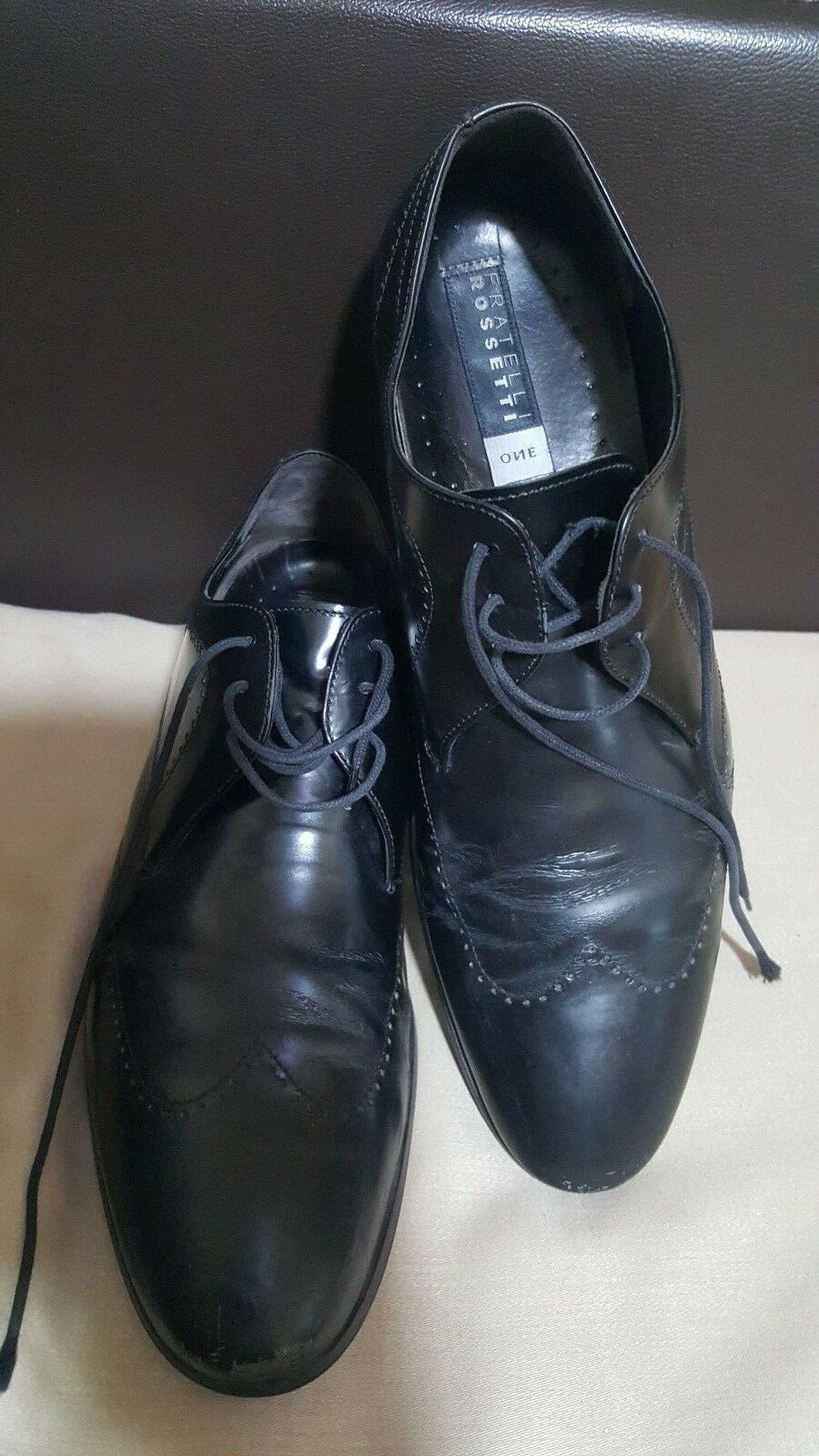 FRATELLI ROSSETTI Made in  Black Leather Men's shoes -size UK 7  EU 41-