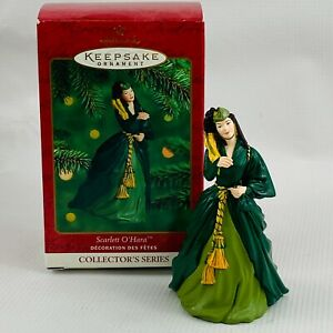 Hallmark-Scarlett-O-039-Hara-Ornament-4-Collectors-Series-Green-Velvet-Dress-2000