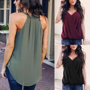 Nouveau-femmes-solides-Fashion-v-Neck-Top-partie-gilet-chemise-Blouse-debardeurs