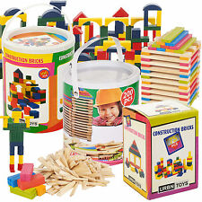 Classic Wooden Construction Building Blocks Bricks Kids Toy Set Pieces