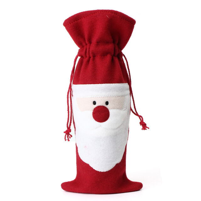 Santa Wine Bottle Cover Bag Christmas Dinner Party Xmas Wrap Pouch Decor Gift