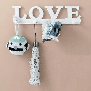 4Hooks-White-LOVE-Coat-Hat-Clothes-Robe-Key-Holder-Rack-Wall-Hanger-Home-Hot-UK