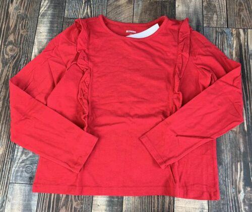 GYMBOREE Nwt Girls Christmas Holiday Red Ruffle Shirt Size L 10 12