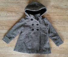 Girls Size 3T Hooded Wool Blend Pea Coat Black & White Toddler Peacoat Old Navy