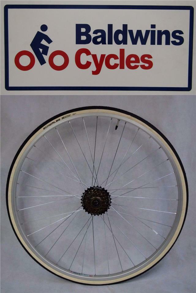 27  x 1 1 4 REAR Q R Bike Wheel + Premium White Wall Tyre & 6 Speed Freewheel