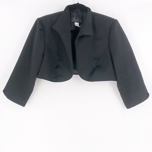 Alex Evenings Cocktail Jacket Cropped Black Size Large Open Front Evening Party
