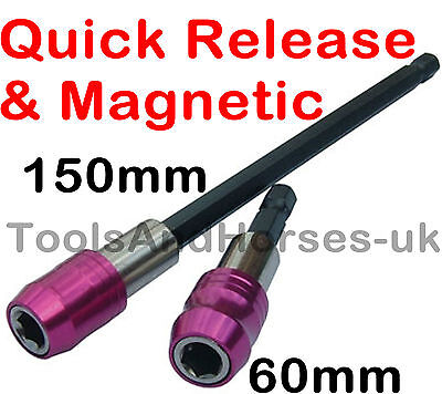 "Release Magnetic Bit Holder 1//4/"" Hex Drive For Drill Driver 150mm /& 60 2pc Quick"