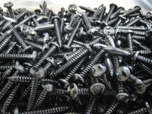 """# 14 x 1-1//2/"""" one way screw security  round head  black zinc finish 50 screws"""