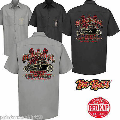 Hotrod 58 Mens Rockabilly Garage Work Shirt Old Gear