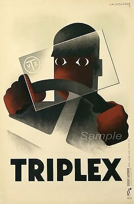 VINTAGE TRIPLEX GLASS SCREEN SAFTEY ADVERTISING A3 POSTER PRINT