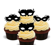Masquerade Ball Masks Edible Cup Cake Toppers, Stand-up Decorations Burlesque