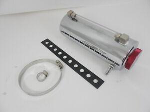 Universal-Chrome-Aluminum-Fluid-Reservoir-Tank-with-Bracket-One-Outlet-8-034-x-3-034