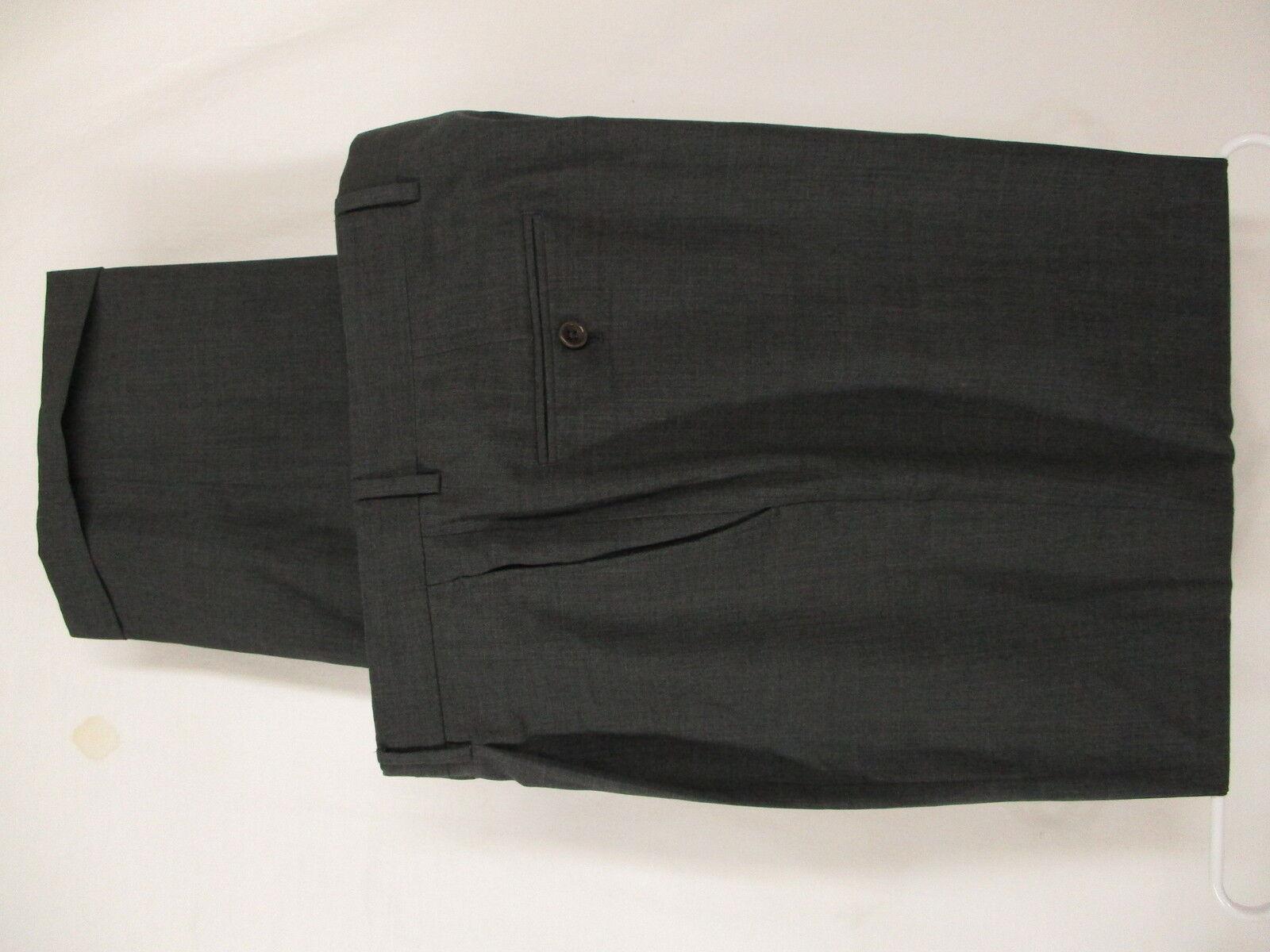 Armani Collezioni Mens Charcoal Pleated Wool Dress Pants 35x33.5