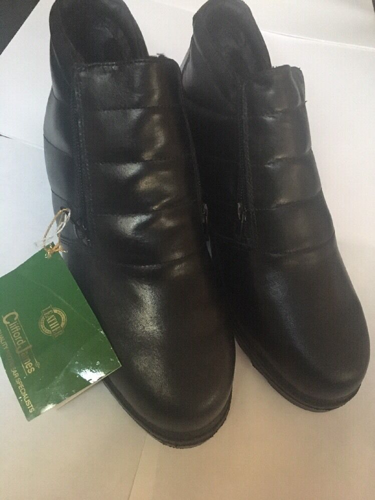Clifford James Black Leather Ankle winter thermal warm  Zip shoes  boots Size 8