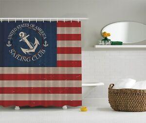 Americana USA Flag Shower Curtain Rustic Anchor Sailing ...
