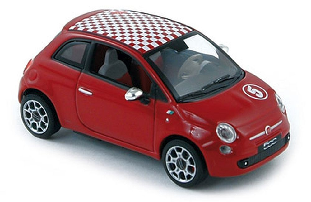 Norev 1 43   770028 Fiat 500 Sport (2007), Red, with Red White Roof