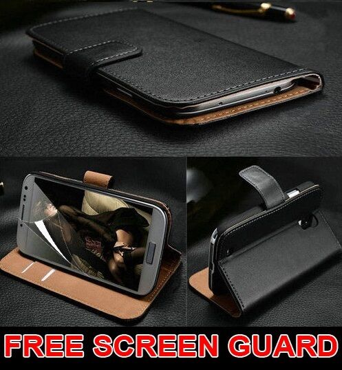 Luxury Genuine Real Leather Flip Case Wallet Cover For Samsung Galaxy S8 S6 Edge