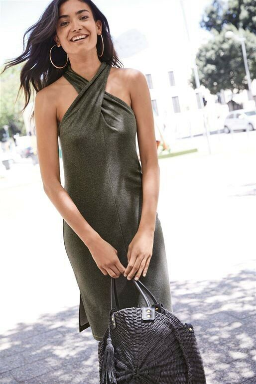 NEXT  Metallic Shimmer Halter Dress 18 BNWT