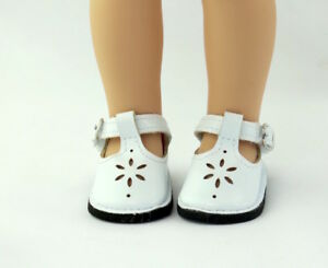 White-Flower-Dress-Shoes-Fits-Wellie-Wishers-14-5-034-American-Girl-Clothes-Shoes