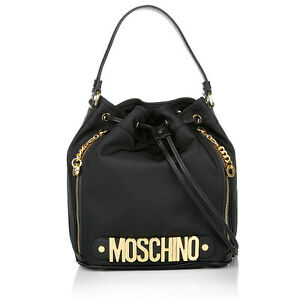 cea3085253e Moschino Couture Jeremy Scott Black Bucket Bag w/ Gold Logo MADE IN ...