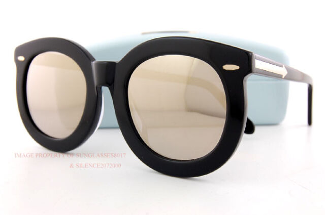 fdf9472f347f Brand New KAREN WALKER Sunglasses Super Worship Black Gold Mirror 1601572  Women