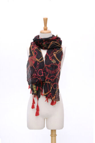 Long Viscose Scarf Black and Red with Fringes COT214