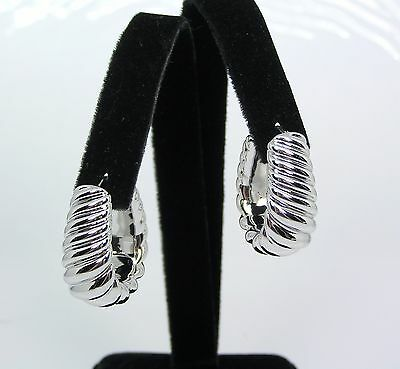 "Oro Nuovo 14k White Gold Bold Ribbed Twist Graduated Hoop Earrings 1"" QVC $122"