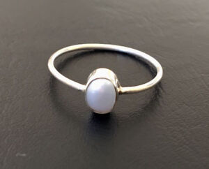 925-Sterling-Silver-Stackable-Pearl-Stack-Gemstone-Ring-Cabochon-US-5-12