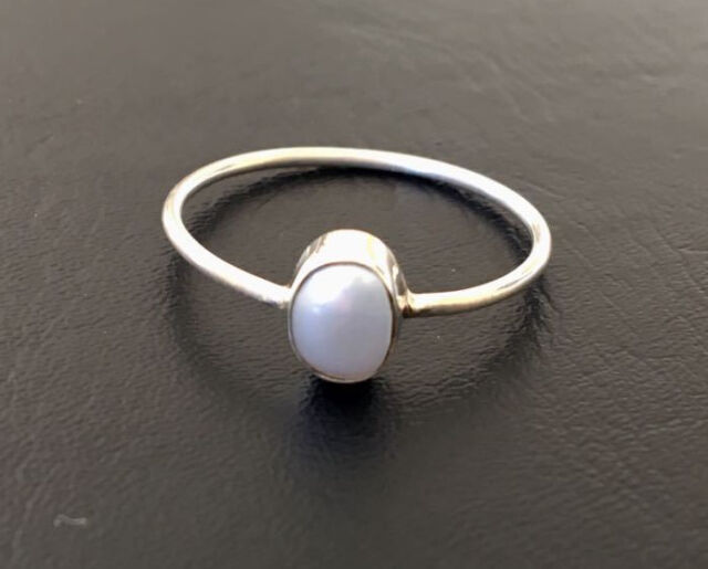 925 Sterling Silver Stackable Pearl Stack Gemstone Ring Cabochon US 5 - 12