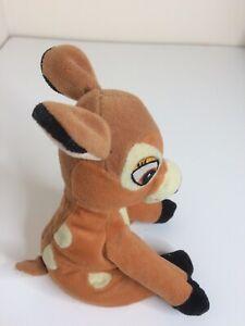 Giocattolo Morbido Bambi Disney Beanie inferiore di circa 6 pollici 15 cm di altezza quando è seduto