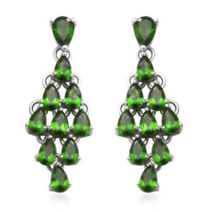 Platinum-Plated-925-Sterling-Silver-Chrome-Diopside-Drop-Dangle-Earrings-Ct-5