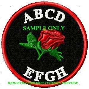 CUSTOM-MADE-TO-ORDER-ROSE-ACCENTED-ROUND-BIKER-PATCH-80mm