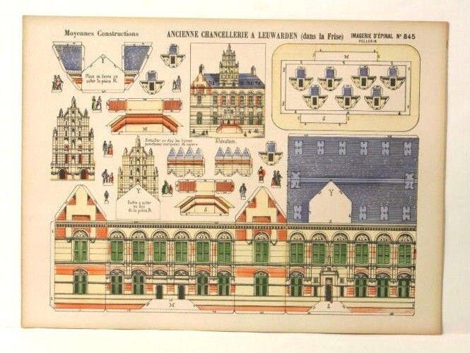 Imagerie D'65533;'Dråp 65533; Epinal No845 Ancien Channelie, Moyenne Construction Paper modell