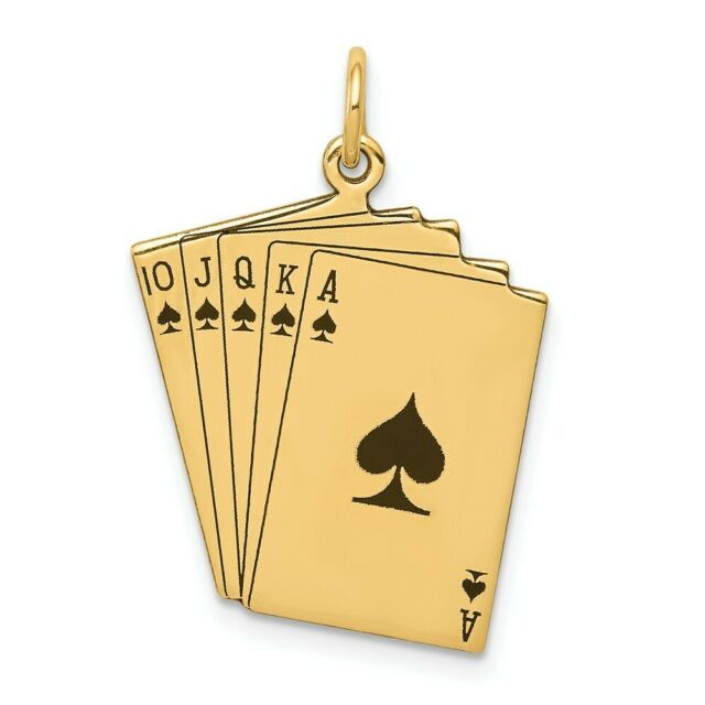 Mens Fine Jewelry Solid 14k Yellow Gold Royal Flush of Hearts Poker Pendant Necklace